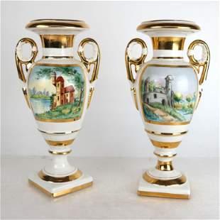 Pair of Limoges Porcelain Urns
