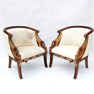 Pair Maitland Smith Regency-Style Swan-Arm Chairs