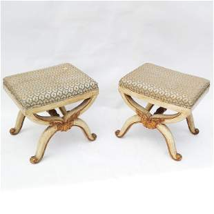 Pair of Louis XVI-Style X-Form Benches