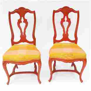 Pair of Painted Shell Crest Side Chairs