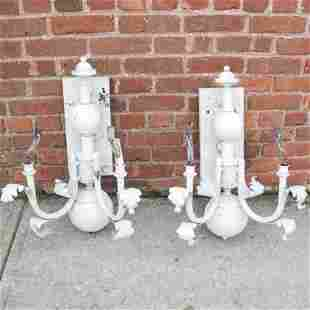 Pair Outdoor White Painted Metal 2-Light Sconces