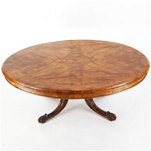 Victorian Walnut Veneer Oval Low / Coffee Table