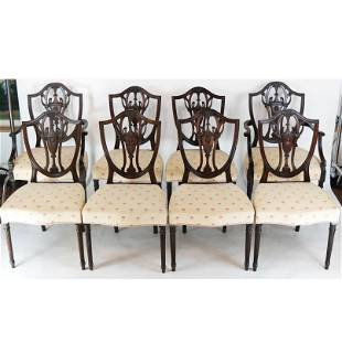 Set of 8 Adam-Style Shield Back Dining Chairs