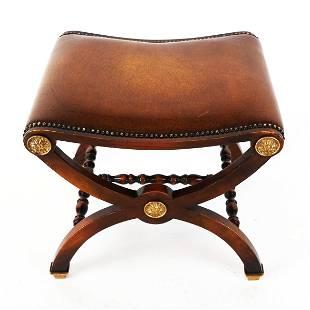 Regency-Style Mahogany X-Form Bench