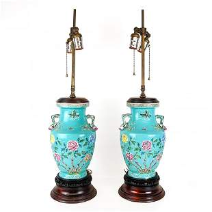 Pair of Chinese Relief Decorated Porcelain Lamps