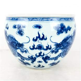 Chinese Blue & White Planter / Jardiniere