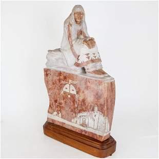 Alvin MARSHALL: Navajo Woman - Alabaster Sculpture