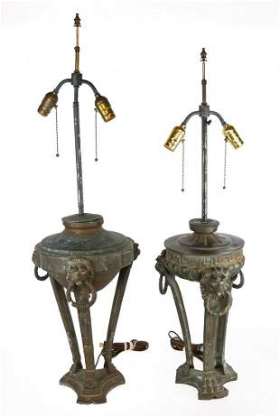 Two Early 20th C. Metal Table Lamps