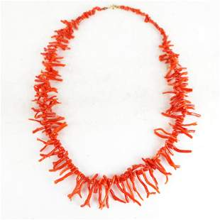 Coral Branch Bead Choker Necklace