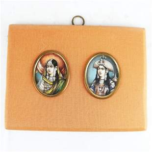 Pair Indian Miniature Portraits, Framed Together