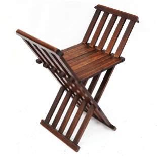 Antique Arts & Crafts Oak Folding Seat