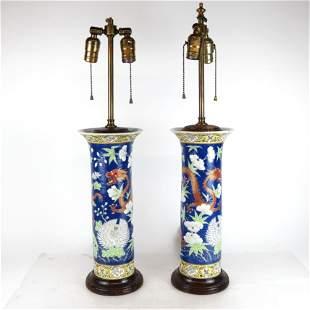Pair of Chinese Polychrome Enamel Vase Lamps