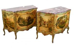 Pair of Venetian-Style Painted Commodes