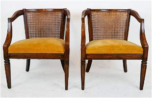 Pair of Walnut & Cane Barrel Back Arm Chairs