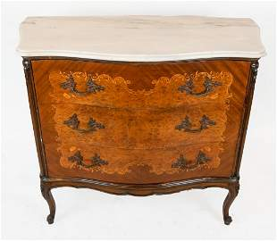 Louis XV-Style Floral Inlaid Marble Top Commode