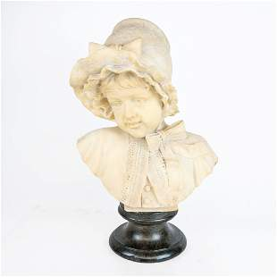 Late 19th-Early 20th C. Alabaster Bust of Girl