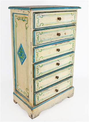 Painted Miniature Chest with Five Drawers