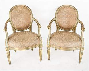 Pair of Louis XVI-Style Gilt & Painted Arm Chairs