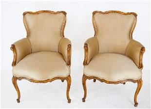 Pair Walnut Fireside Chairs