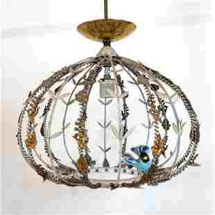 Birdcage-Style Metal & Wire Pendant Light Fixture