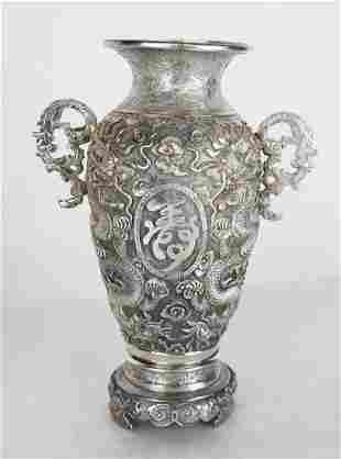 "Chinese Silver ""Dragon"" Vase"
