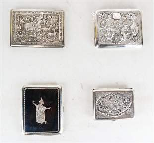 Four Chinese Silver Cigarette/Card Cases
