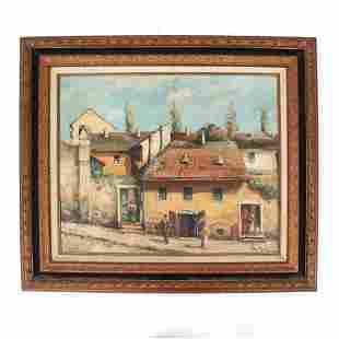 NAGY ATTILA: Village Scene - Oil Painting