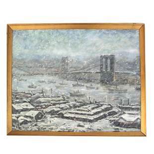 Style of Guy WIGGINS: Brooklyn Bridge - Painting