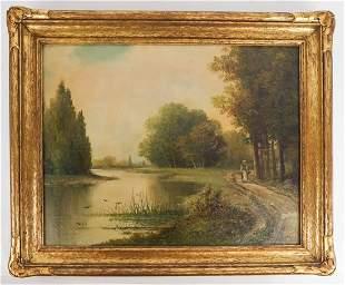M. REGIBE (?): River Landscape - Oil Painting