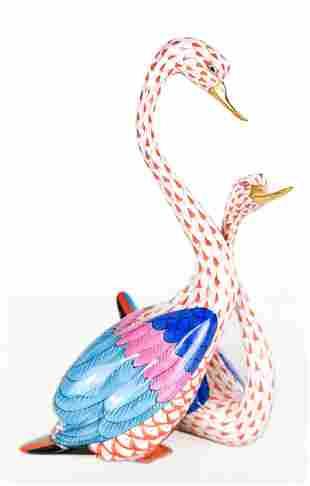 Herend Porcelain Swan Group