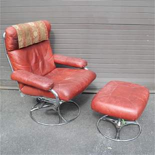 Modern Red Leather Arm Chair & Ottoman