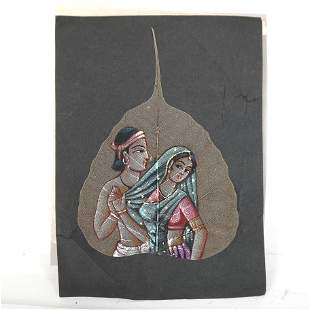 Indian Painting on Tobacco Leaf