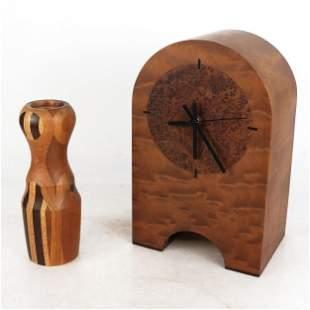 Burl Wood Mantel Clock & Turned Wood Kaleidoscope