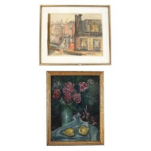 Two Original Art Works - Oil Painting & Watercolor