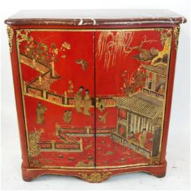 Louis XV Red Lacquer Chinoiserie Two-Door Cabinet
