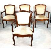 Lot of 4 Antique Italian Louis XV Arm Chairs