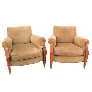 Pair of Modern Mahogany & Suede Arm Chairs