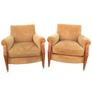 Pair Modern Mahogany & Suede Arm Chairs