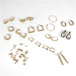 Lot of Twelve (12) Pairs 14K Gold Earrings, More