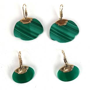 Two Pairs of 14K Gold & Malachite Earrings