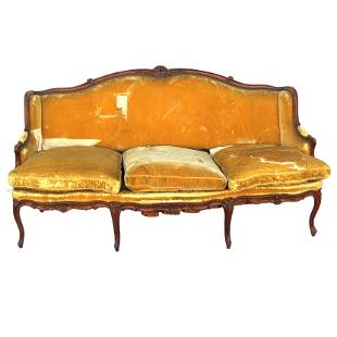 18th C. Louis XV Carved Beechwood Canape