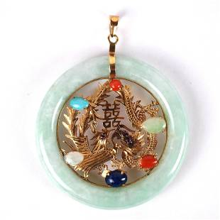 14K Gold, Jade & Other Stones Circular Pendant