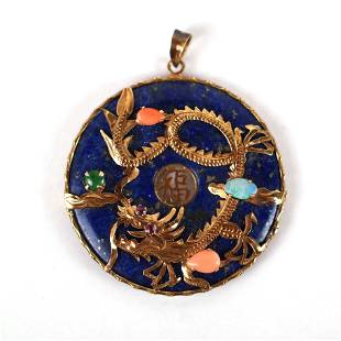 Chinese 14K Gold, Coral, Ruby, Opal & Jade Pendant