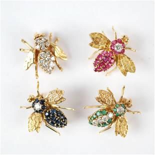 Four 14K, Ruby, Sapphire, Emerald & Diamond Pins