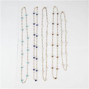 Five 14K Gold and Semi-Precious Stone Necklaces