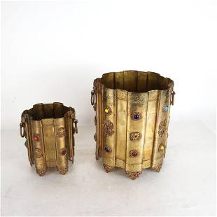 Two Bronze Paste Mounted Containers
