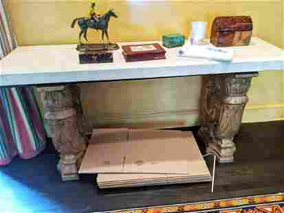 Baroque-Style Terracotta & Marble Console Table