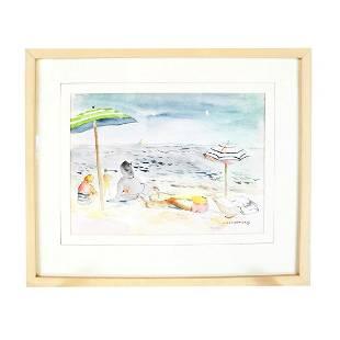 Saul LISHINSKY: Lying on a Beach - Painting