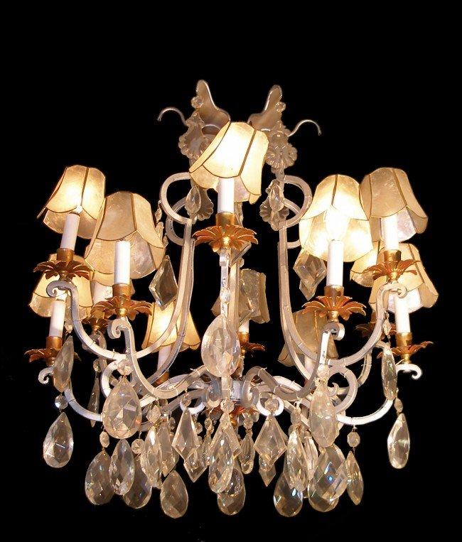 72: Twelve light Silver Gilt & Crystal Chandelier