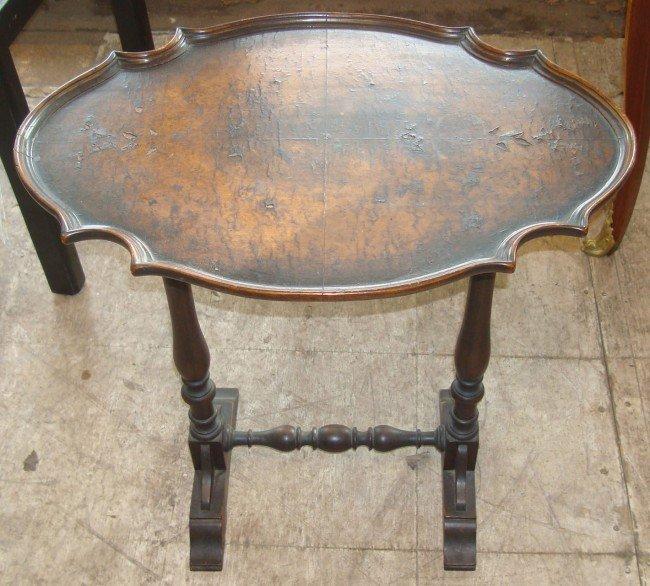 6: Burl Walnut Tilt Top Side Table